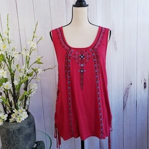 Knox Rose Embroidered Side Tie Tunic NWT
